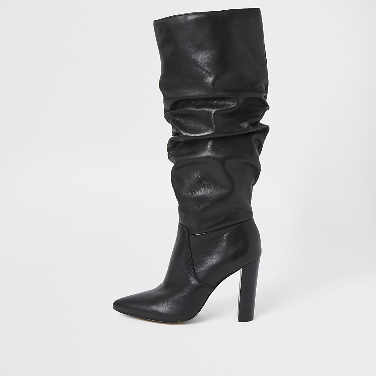 Black leather slouch heel boot