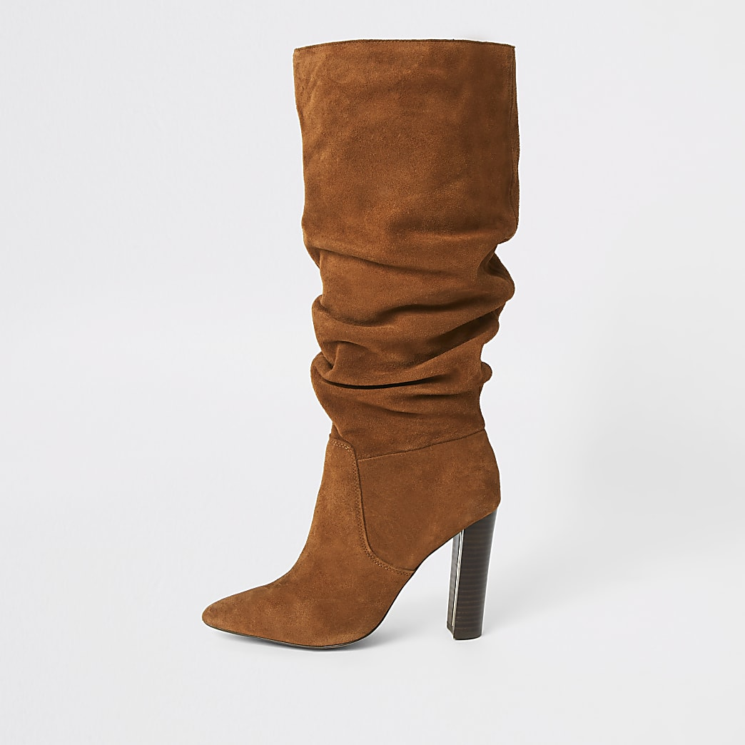 Dark orange suede heeled slouch boots