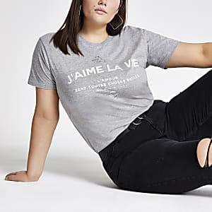 RI Plus - Grijs T-shirt met print