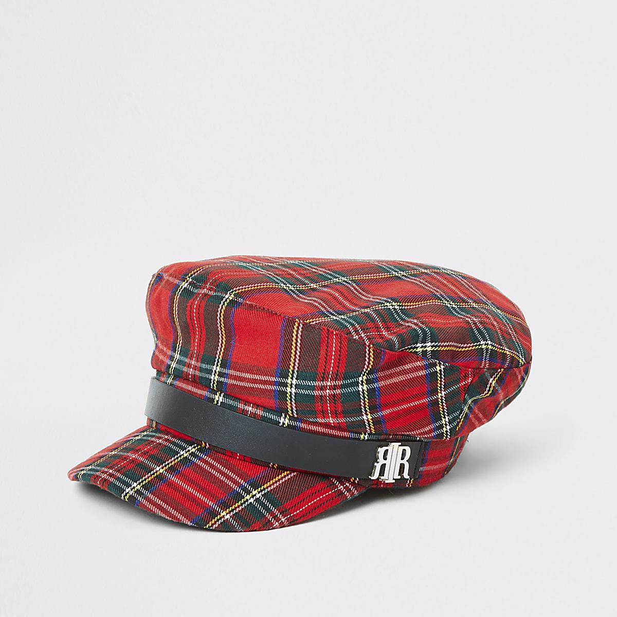 Red check baker boy hat