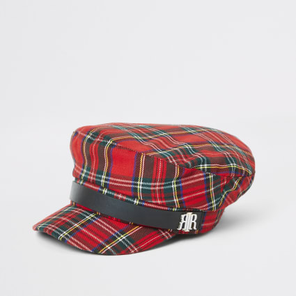 Red check baker boy hat