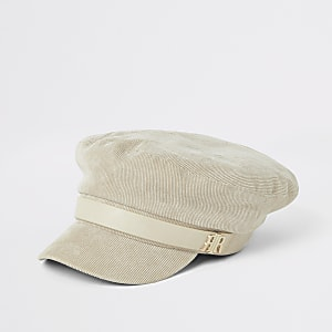 Crèmekleurige corduroy bakerboy-pet