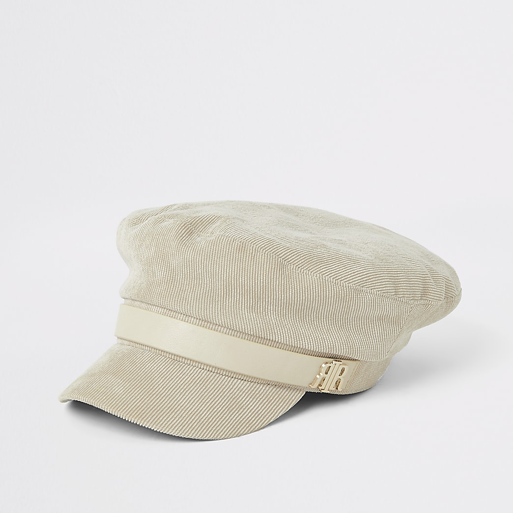 Cream cord baker boy hat