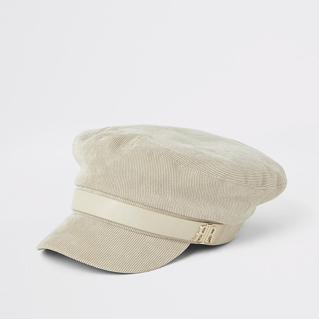 Casquette gavroche en velours côtelé crème