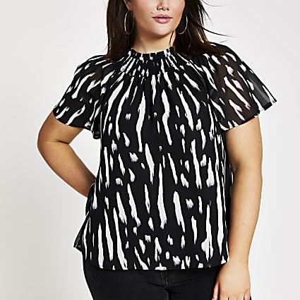 Plus black print print frill neck shell top