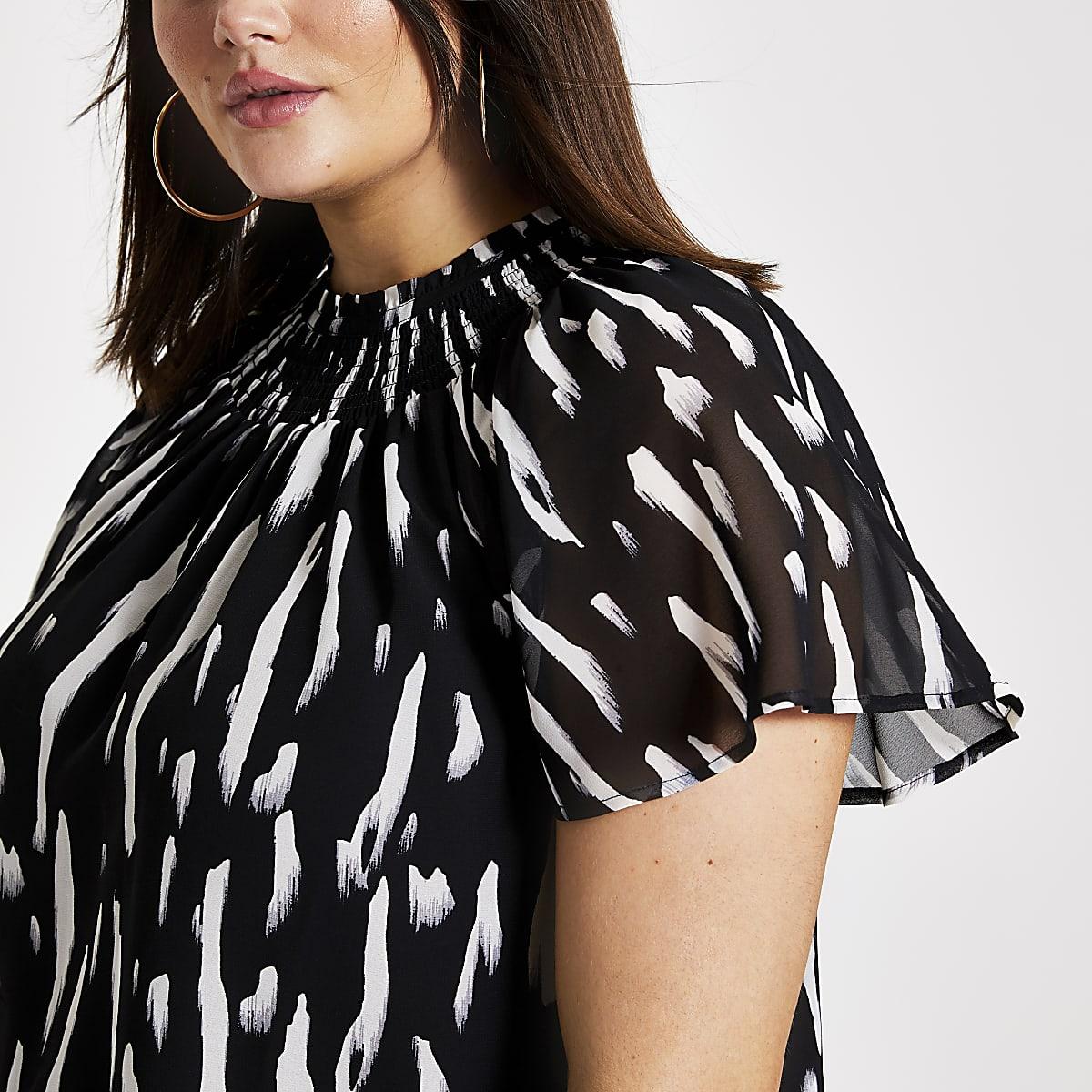 ecc9213f258e70 Plus black print print frill neck shell top