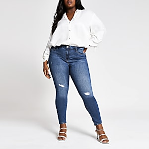 RI Plus - Molly - Blauwe wash ripped jeans