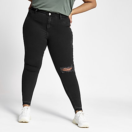 Plus black Molly ripped jeggings