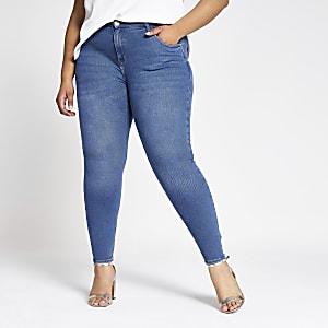 Plus – Amelie – Jean super skinny bleu délavage moyen