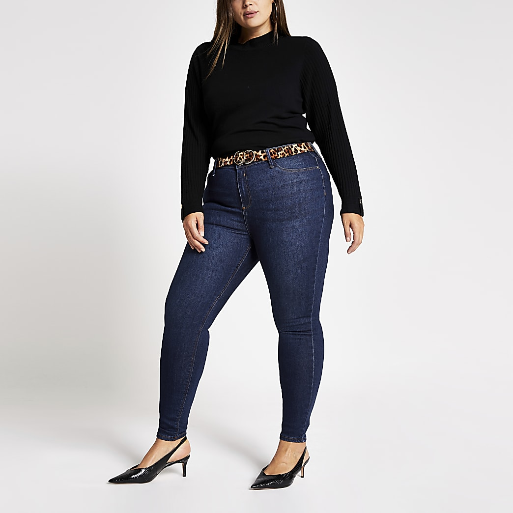 RI Plus - Molly - Donkerblauwe denim jeans