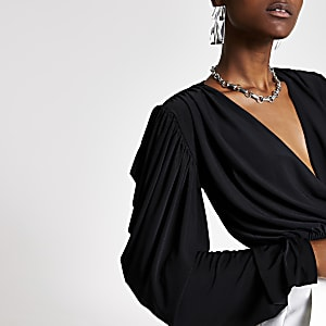 Black wrap draped crop top