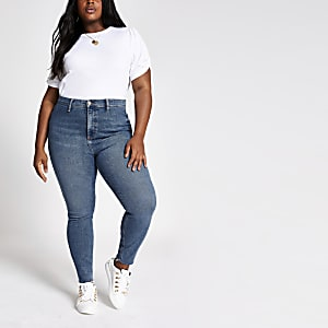 Plus – Kaia – Hellblaue Jeans mit hohem Bund