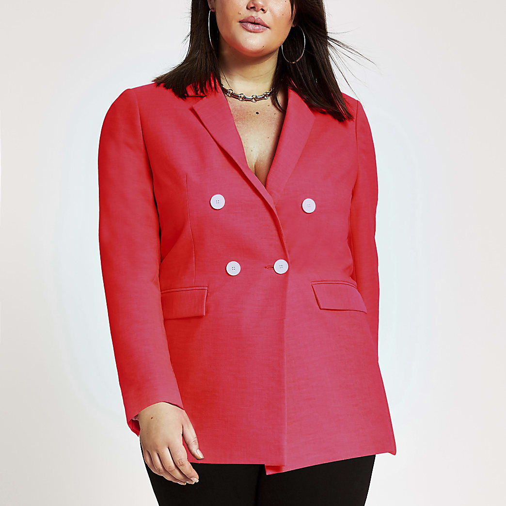 Plus neon pink double-breasted blazer
