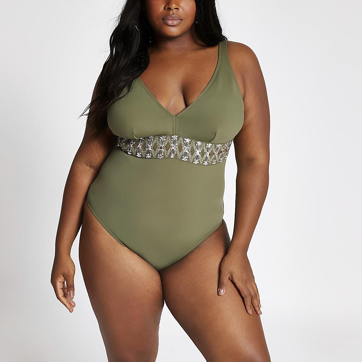 Plus khaki embellished waist swimsuit