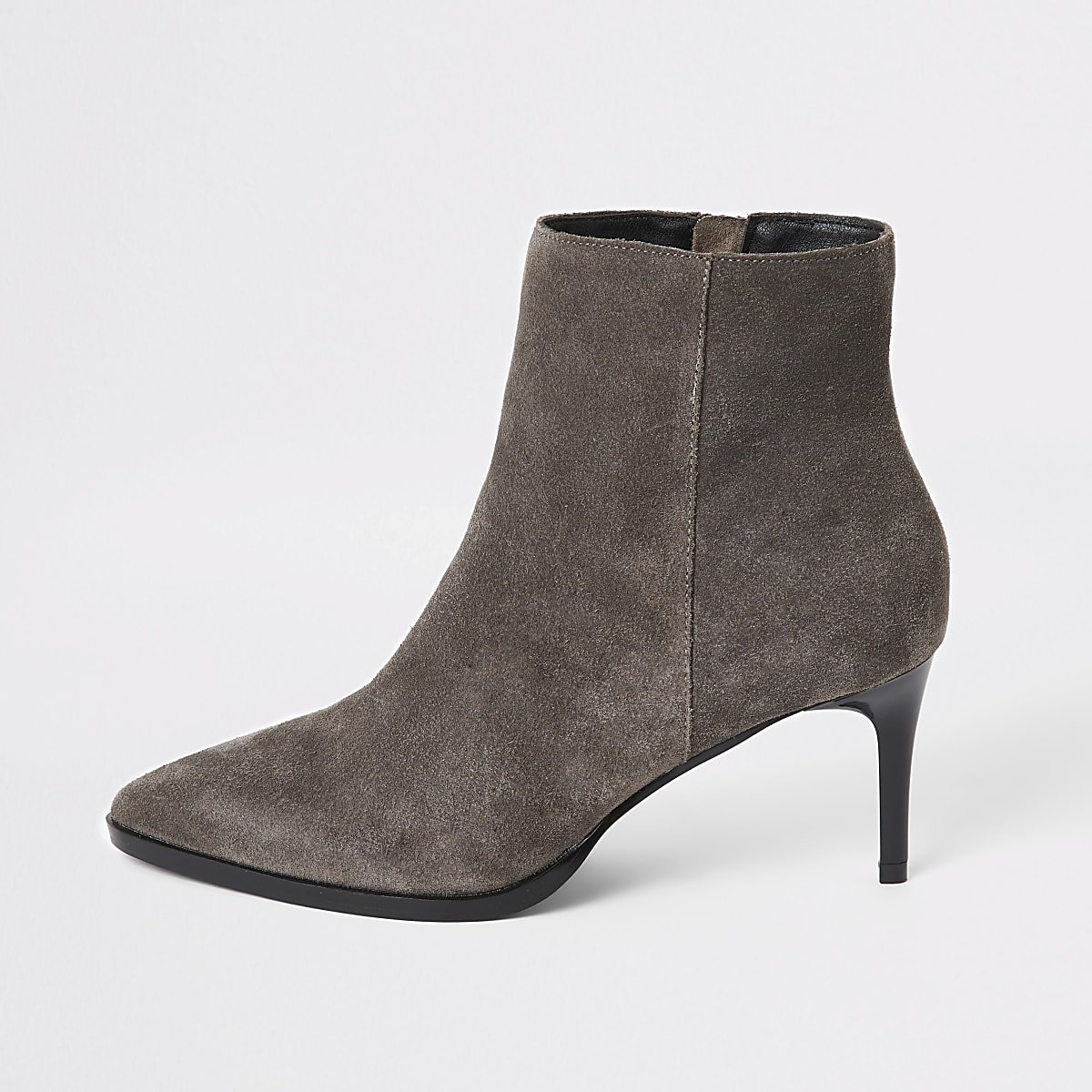 Grey suede pointed toe heeled ankle boots