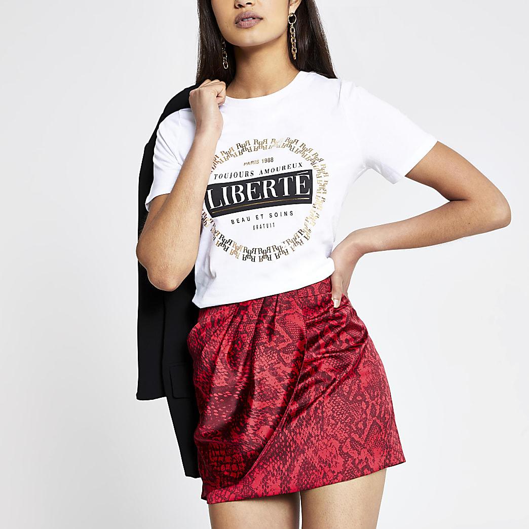 White 'Liberte' printed T-shirt