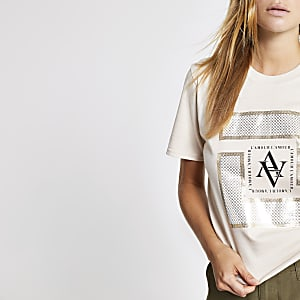 Beige printed cropped T-shirt