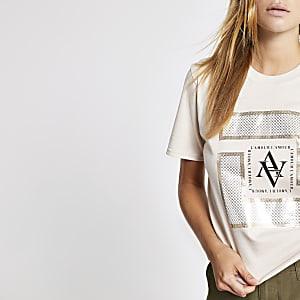 Beige cropped T-shirt met print
