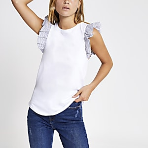 White frill sleeve tank top