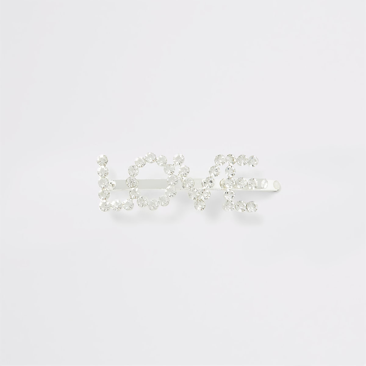 Silver colour 'Love' diamante pave hair slide