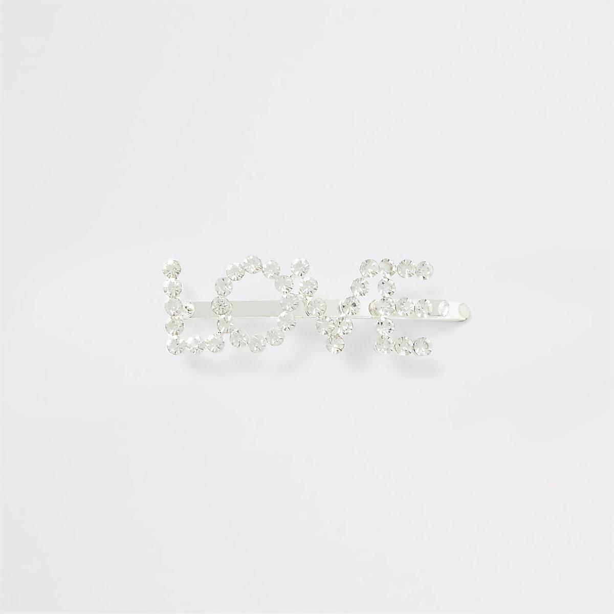 Zilverkleurige haarspeld met 'Love' en siersteentjes