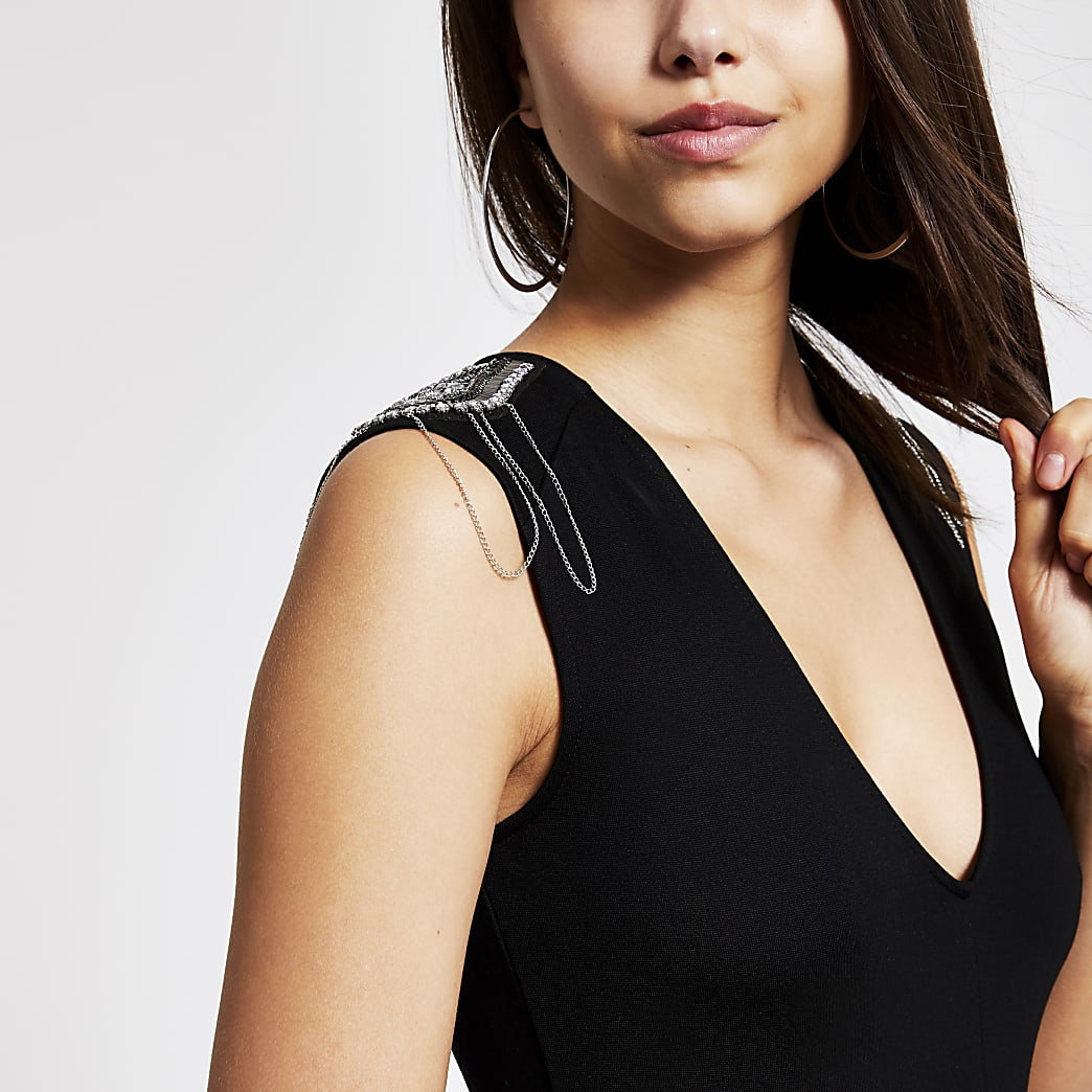 Black shoulder embellished bodysuit