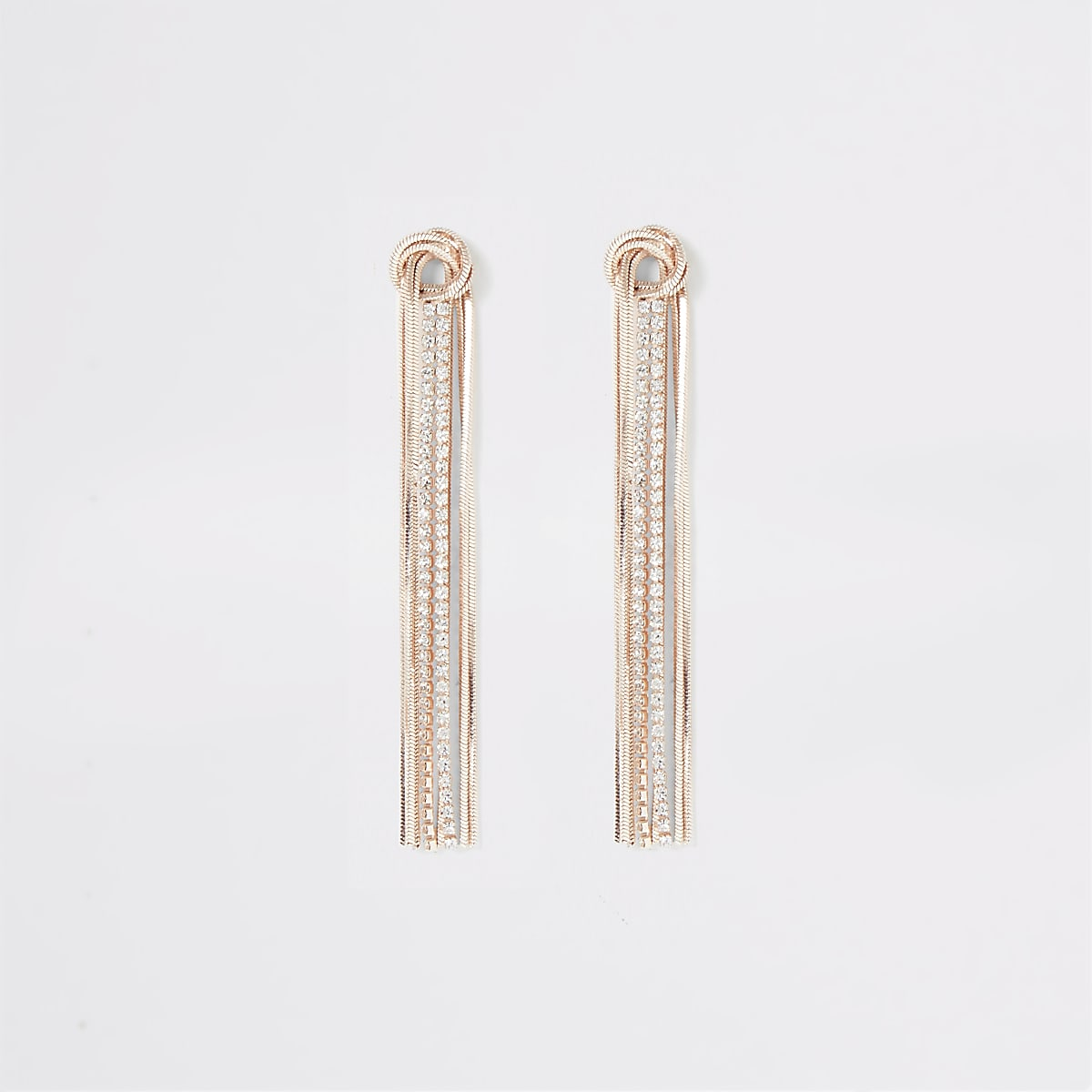 Rose gold colour knot cupchain earrings