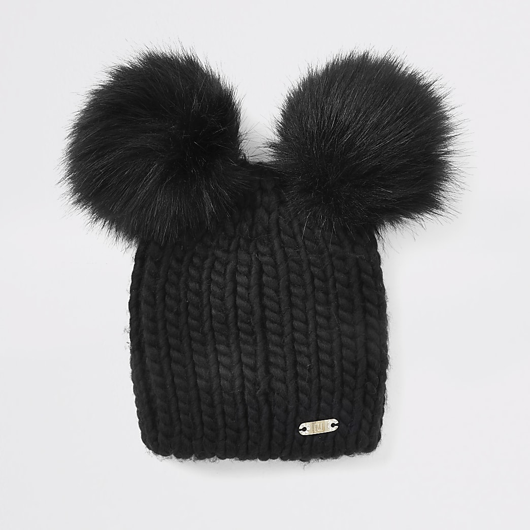 Black faux fur double pom pom beanie hat