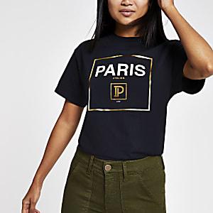 """Petite – Schwarzes T-Shirt """"Paris"""""""