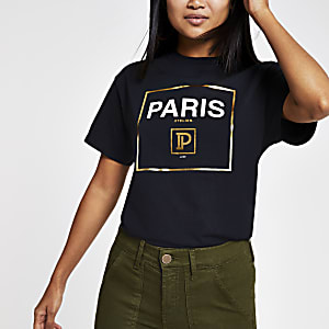 Petite black 'Paris' T-shirt