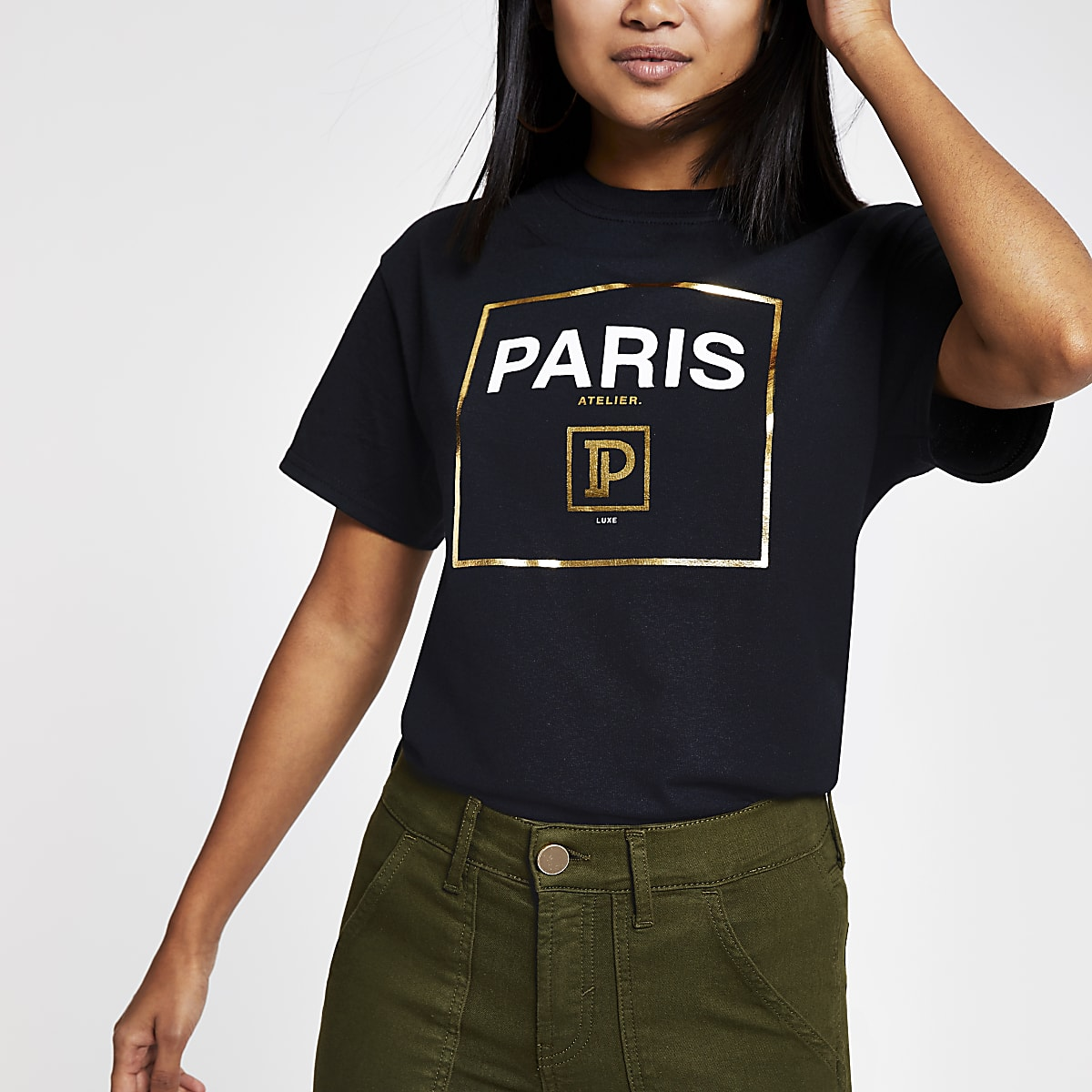 Petite black 'Paris' T-shirt