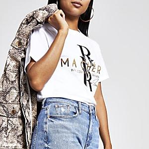 Petite white foil print cropped T-shirt