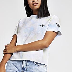Petite – T-shirt court blanc effet tie and dye