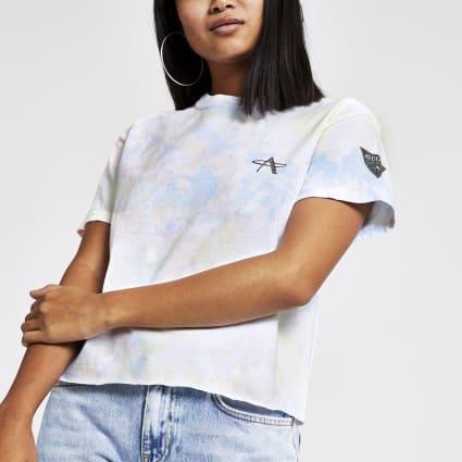 Petite white tie dye cropped T-shirt