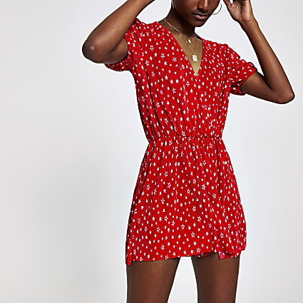 Red print wrap playsuit