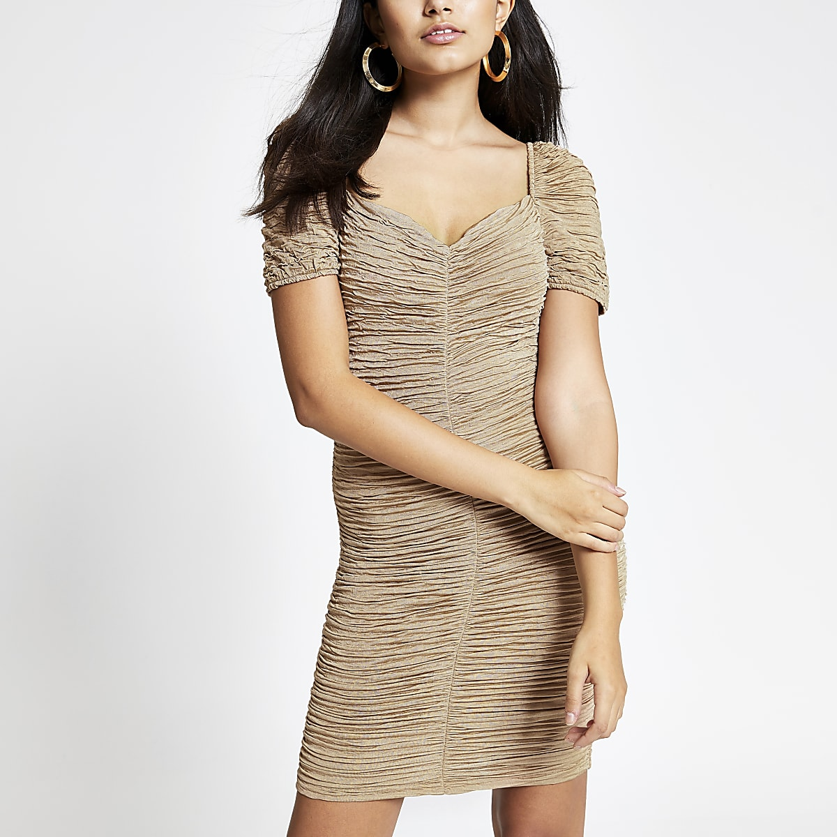 Beige ruched bodycon dress