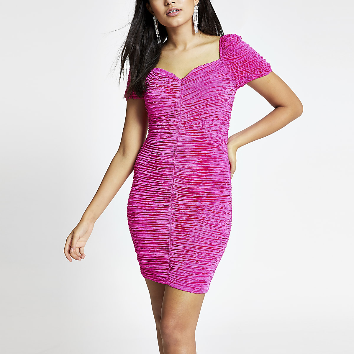 Pink ruched bodycon dress