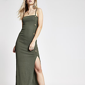 Khaki maxi slip dress