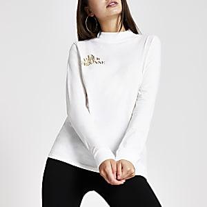 Wit hoogsluitend T-shirt met folieprint