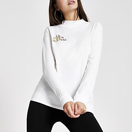 White high neck foil print T-shirt