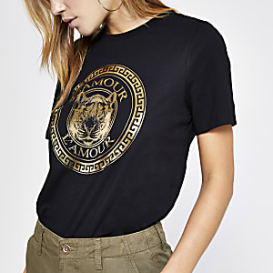 "Schwarzes, figurbetontes T-Shirt mit ""L'amour""-Print"