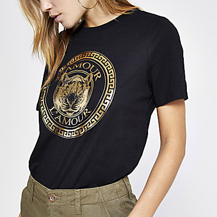 Black 'L'amour' print fitted T-shirt