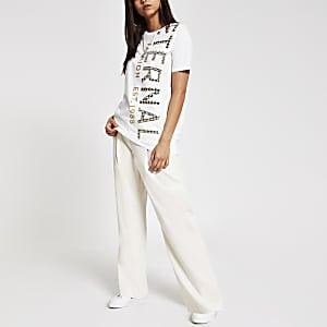 T-shirt long imprimé crème orné
