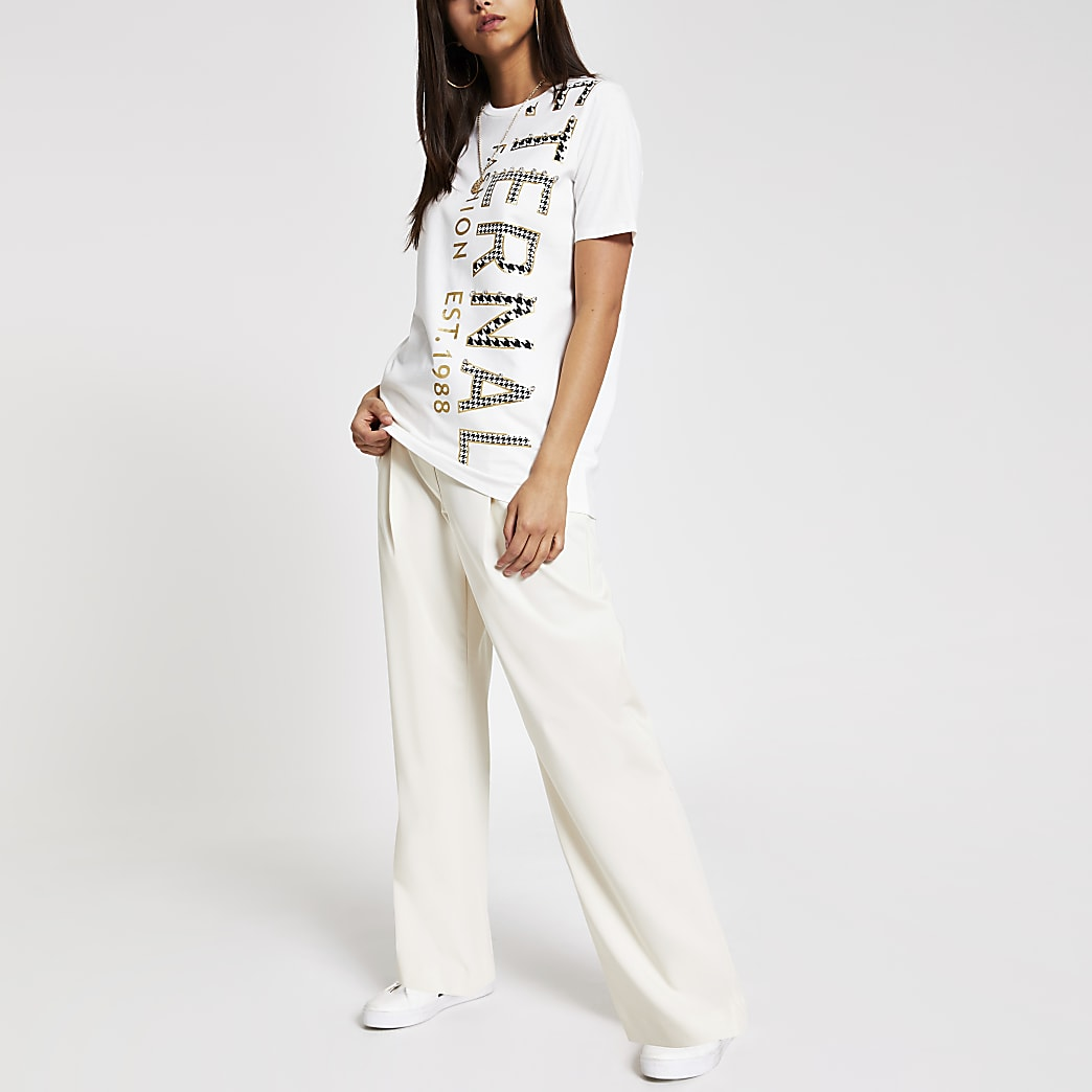 Cream print embellished longline T-shirt