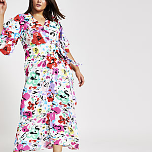 Plus white printed kimono maxi dress