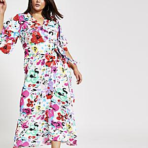 Plus – Weißes, bedrucktes Kimono-Maxikleid