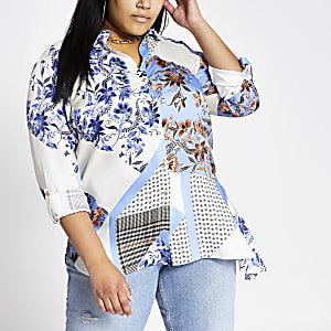 Plus blue mixed print asymmetric shirt