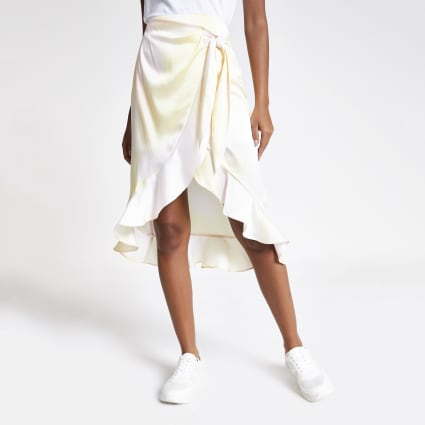 Yellow print wrap midi skirt
