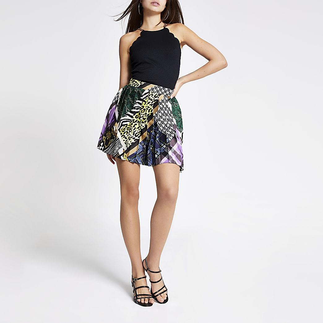 Purple print pleated mini skirt