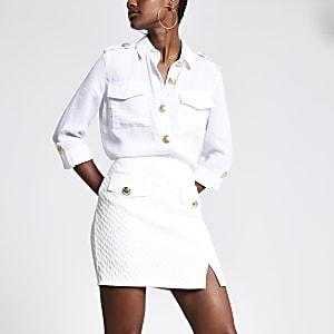 Mini-jupe trapèze texturée blanche